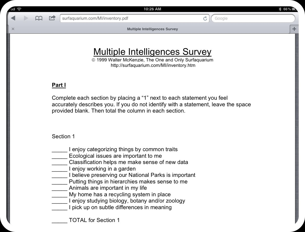 Gardner Multiple Intelligence Test Printable the illusory theory – Multiple Intelligence Worksheet