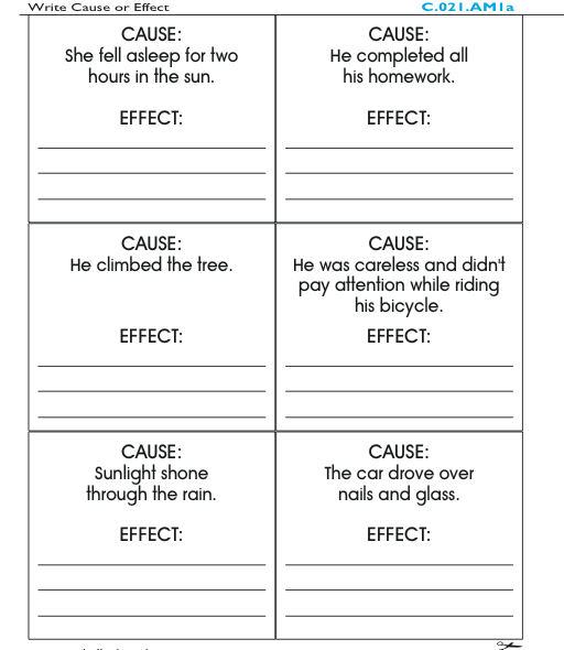 Cause and Effect cards pg. 30