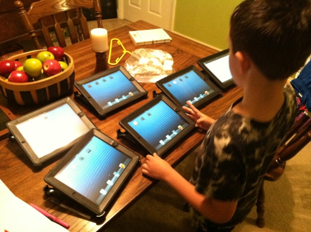 The fastest way to get your 10-year-old to shower? Tell him he can work on the iPads as soon as he is done!